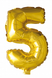 FOIL BALLOON NUMBER 5 GOLD 41 CM
