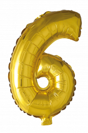 FOIL BALLOON NUMBER 6 GOLD 41 CM