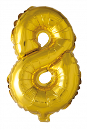FOIL BALLOON NUMBER 8 GOLD 41 CM