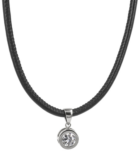 TINDRA LEATHER NECKLACE STEEL