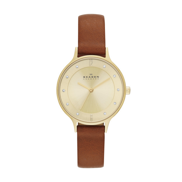 SKAGEN STAINLESS STEEL GOLD LEATHER