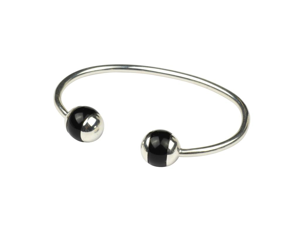 DECO BALL BANGLE SILVER BLACK ONYX