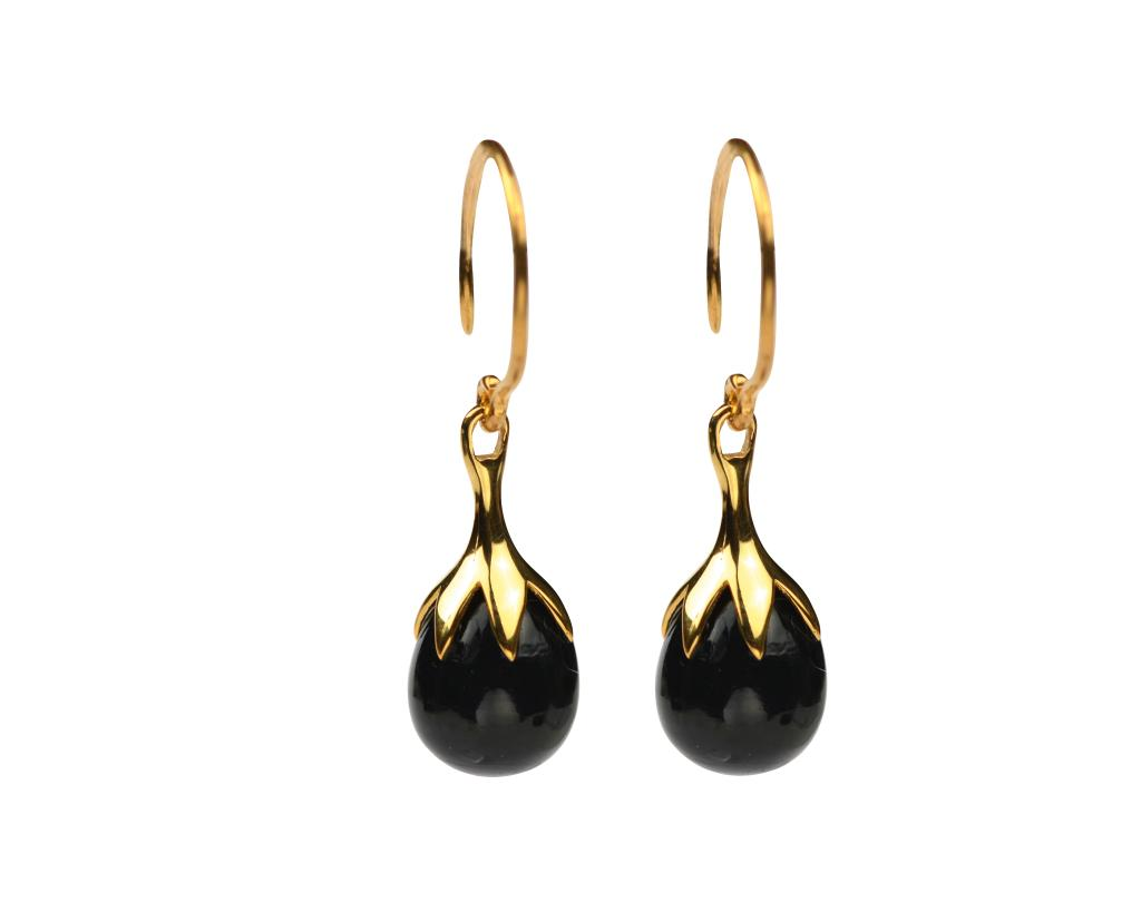 DRIPPING EARRINGS GOLD BLACK ONYX
