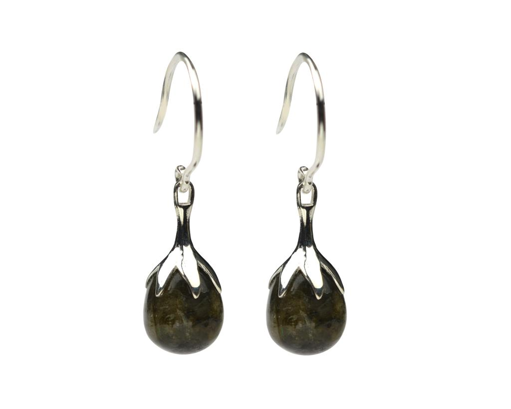 DRIPPING EARRINGS SILVER HEMATITE