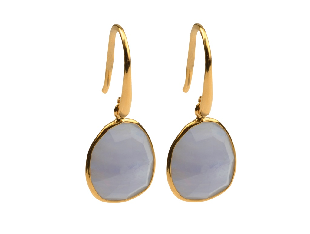 GLAM GLAM EARRINGS GOLD BLUE LACE AGATE