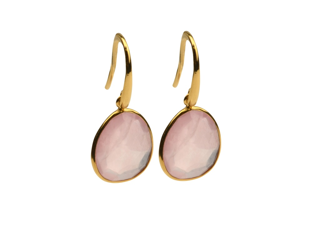 GLAM GLAM EARRINGS GOLD ROSE QUARTZ