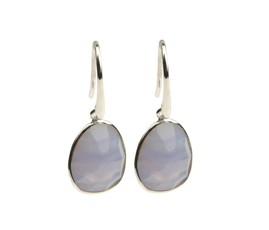 GLAM GLAM EARRINGS SILVER BLUE LACE AGATE