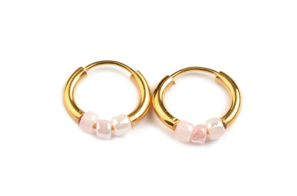 LORENA EARRINGS GOLD DUSTY PINK