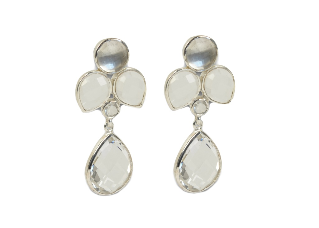 MISS DIVA DANGLING EARRING SILVER CRYSTAL