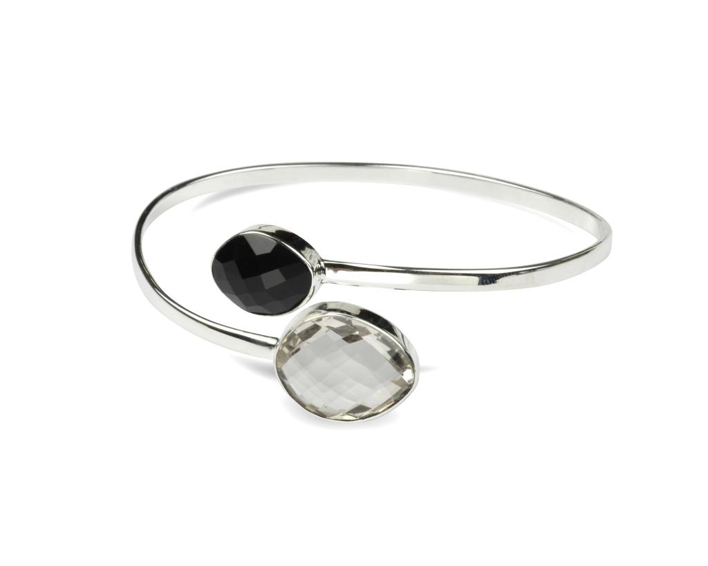 NUGGET BANGLE SILVER CRYSTAL