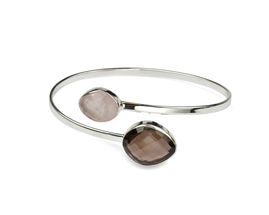 NUGGET BANGLE SILVER SMOKEY ROSE