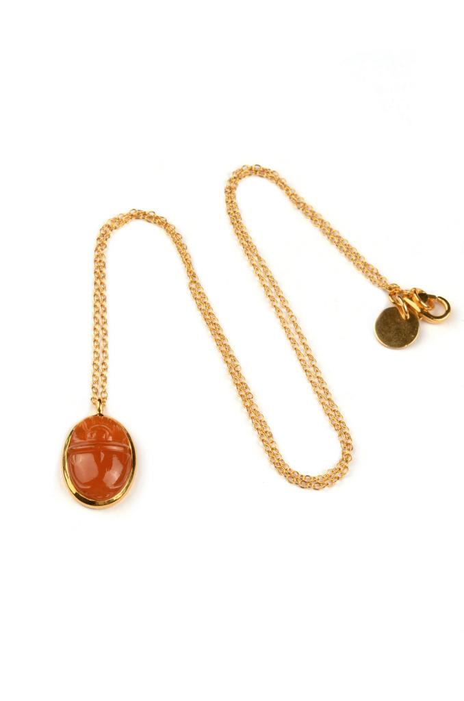 SCARAB NECKLACE, RED ONYX