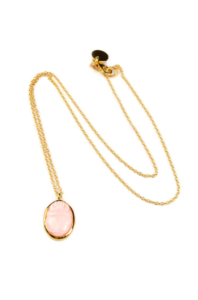 SCARAB NECKLACE, PINK OPAL