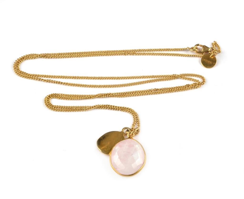 SINGLE NUGGET NECKLACE ROSE QUARTZ