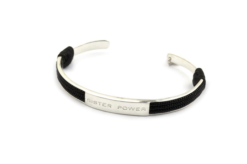 SISTER POWER BRACELET BLACK SILVER