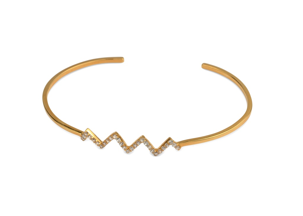 STRICT SPARKLING BANGLE ZIG-ZAG GOLD