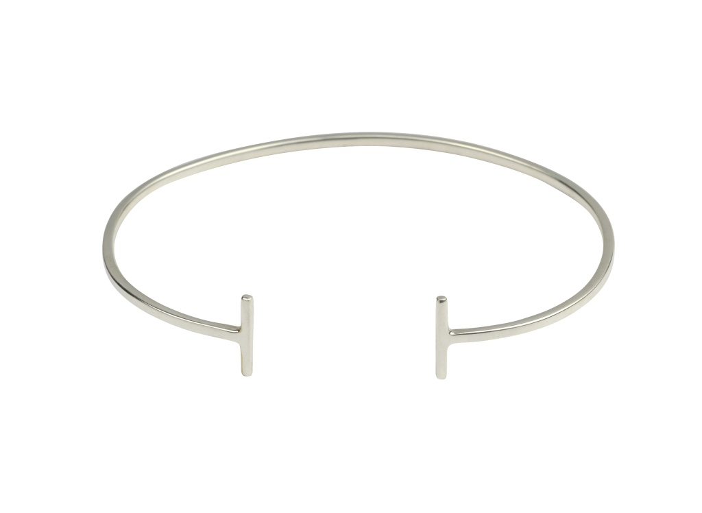 STRICT PLAIN BANGLE BARS, SILVER