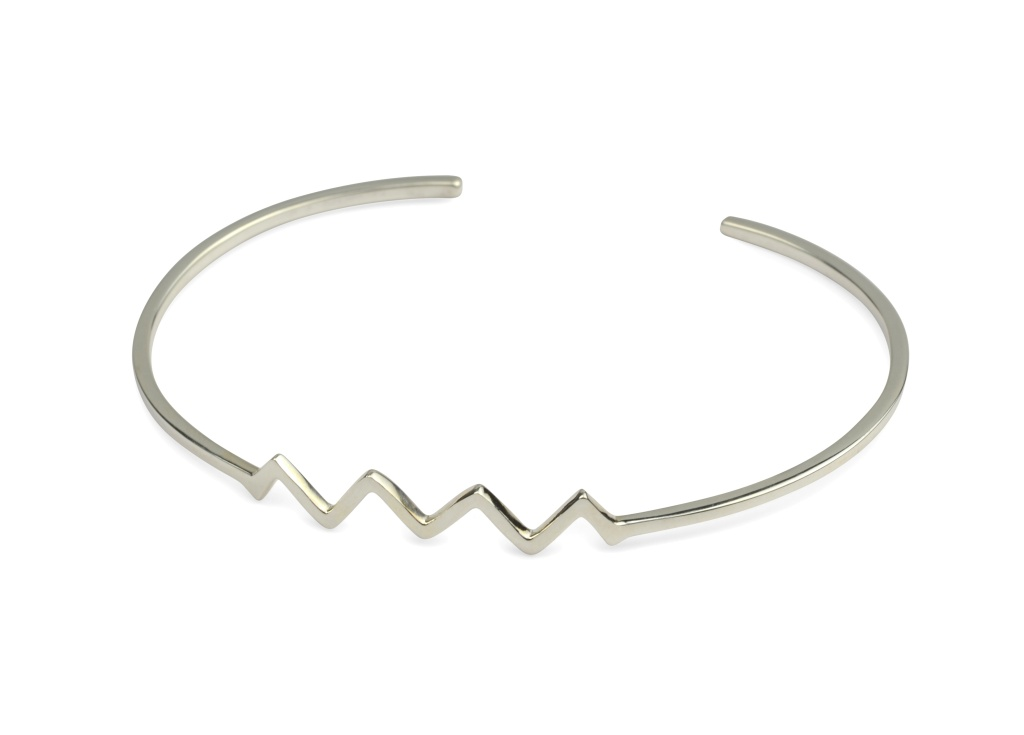 STRICT PLAIN BANGLE ZIG-ZAG, SILVER