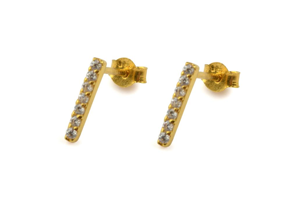STRICT SPARKLING BAR EARRING GOLD