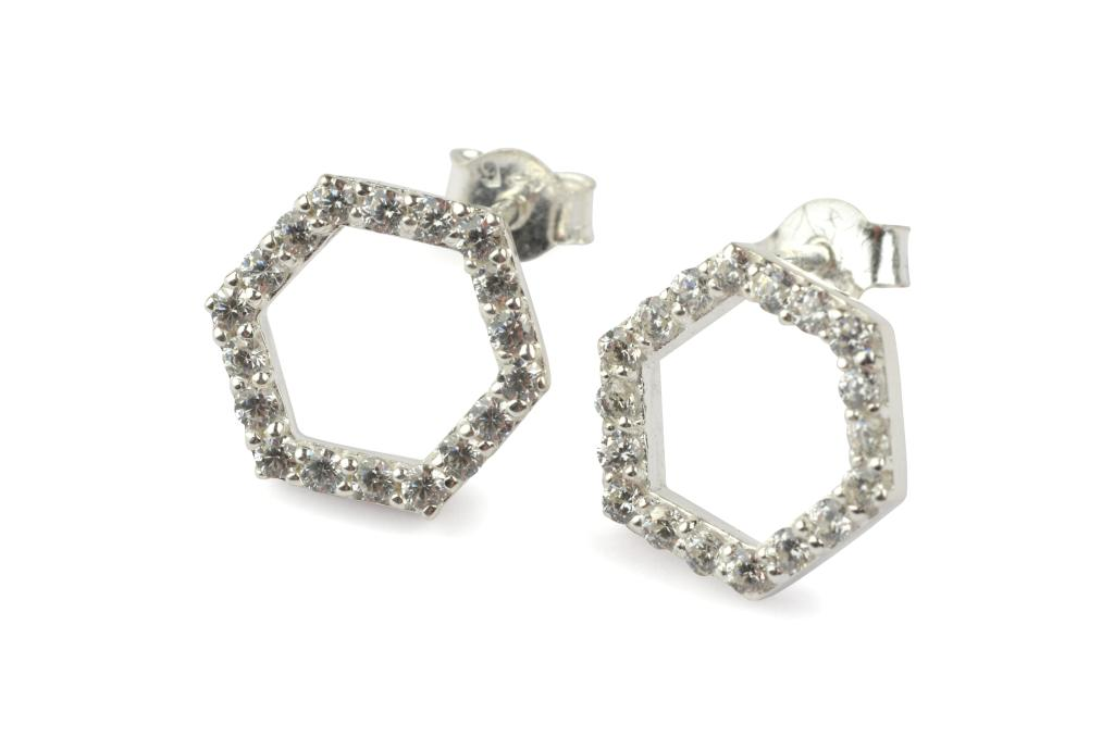 STRICT SPARKLING HEXAGON EARRING SILVER