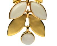 CLEO EARRINGS GOLD, WHITE AGATE