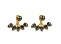 MISS DIVA DROP LINE EARRINGS GOLD HEMATITE