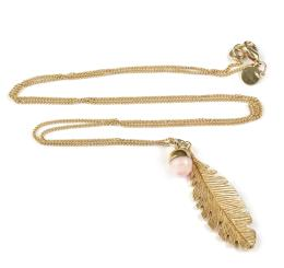 FEATHER NECKLACE PINK OPAL