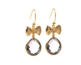 OH SO PRETTY EARRINGS GOLD PINK AMETHYST