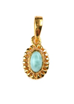 ADORABLE OVAL GOLD LARIMAR