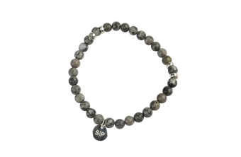 CHRIS NARROW BRACELET SILVER LEAF JASPER