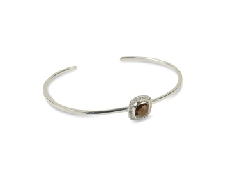 CLASSY BANGLE SILVER SMOKEY QUARTZ