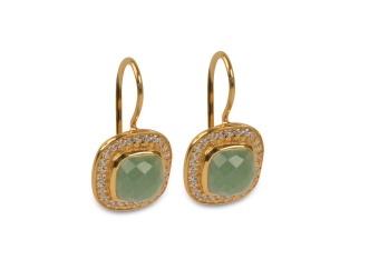 CLASSY EARRINGS GOLD GREEN AVENTURINE