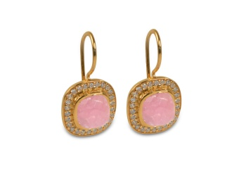 CLASSY EARRINGS GOLD PINK OPAL