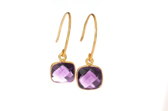 CUSHION EARRINGS GOLD AMETHYST