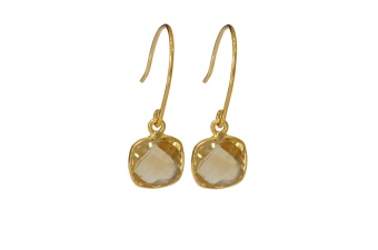 CUSHION EARRINGS GOLD CITRINE