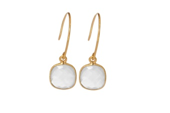 CUSHION EARRINGS GOLD MOONSTONE