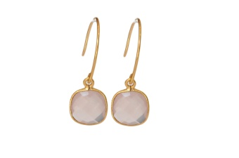 CUSHION EARRINGS GOLD ROSE QUARTZ