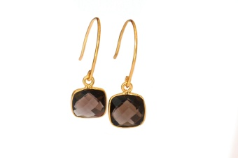 CUSHION EARRINGS GOLD SMOKEY QUARTZ