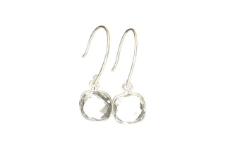 CUSHION EARRINGS SILVER CRYSTAL