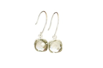 CUSHION EARRINGS SILVER GREEN AMETHYST