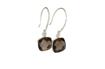 CUSHION EARRINGS SILVER SMOKEY QUARTZ