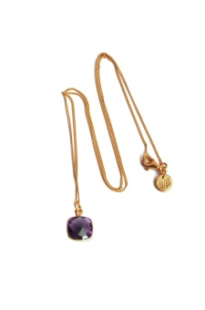 CUSHION NECKLACE GOLD, AMETHYST