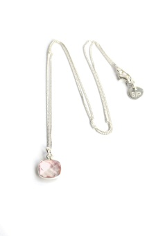 CUSHION NECKLACE SILVER ROSE