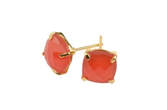 CUSHION STUD EARRINGS GOLD CARNELIAN