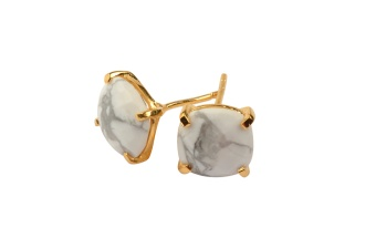 CUSHION STUD EARRINGS GOLD HOWLITE