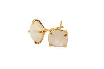 CUSHION STUD EARRINGS GOLD MOONSTONE