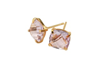CUSHION STUD EARRINGS GOLD PINK AMETHYST