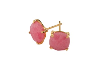 CUSHION STUD EARRINGS GOLD RHODOCHROSITE