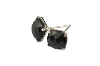 CUSHION STUD EARRINGS SILVER BLACK ONYX