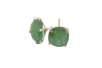 CUSHION STUD EARRINGS SILVER GREEN AVENTURINE